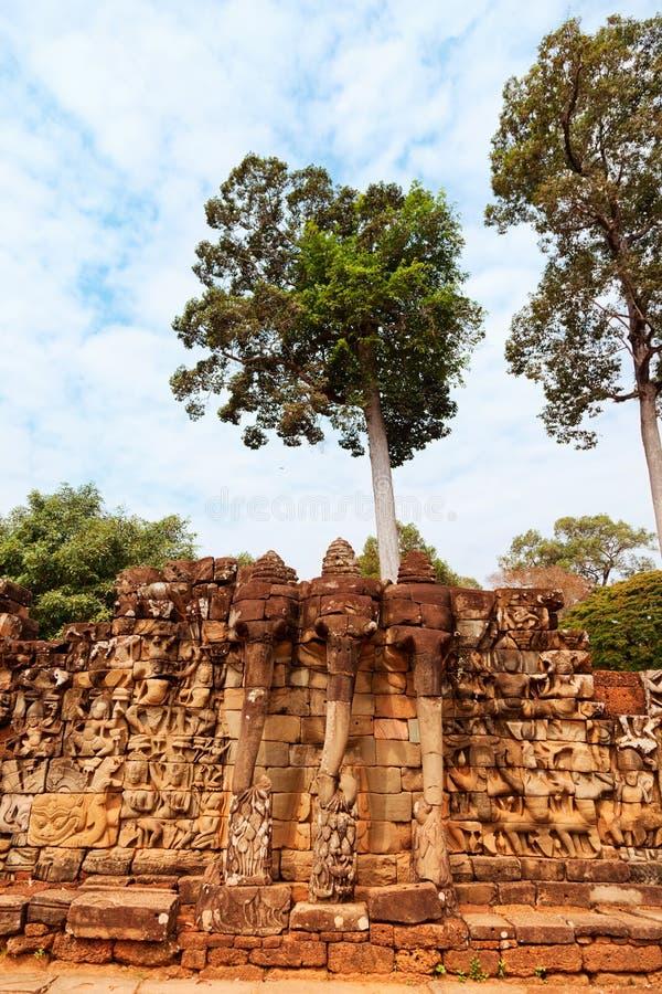 Elephant Terrace, Ankgor Thom, Cambodia stock photography