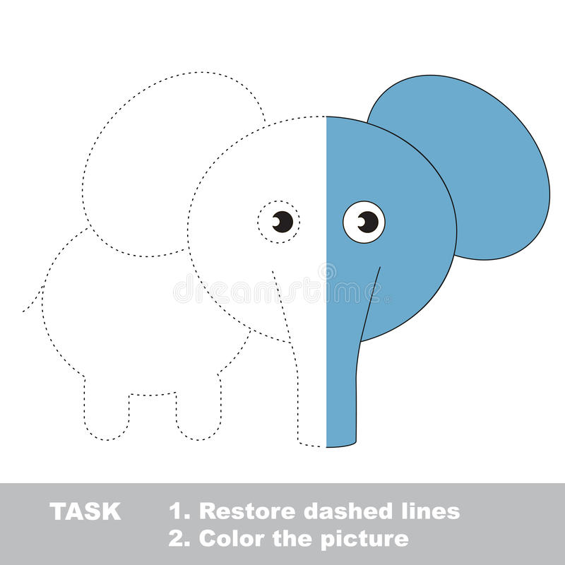 Elephant To Be Colored. Vector Trace Game. Stock Vector ...