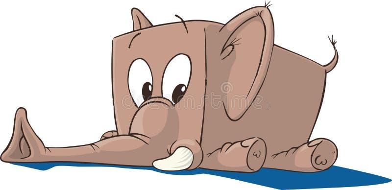 Elephant Toy. Soft Toy Pink Elephant lying on floor stock illustration