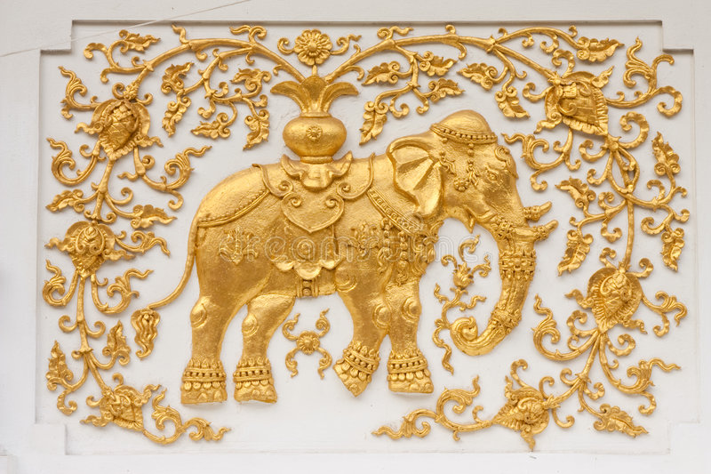 Download Elephant In Traditional Thai Style Molding Art Stock Photo - Image: 8941932