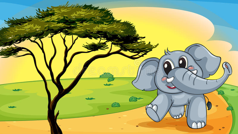 Download Elephant under a tree stock vector. Image of grass, desert - 26264291