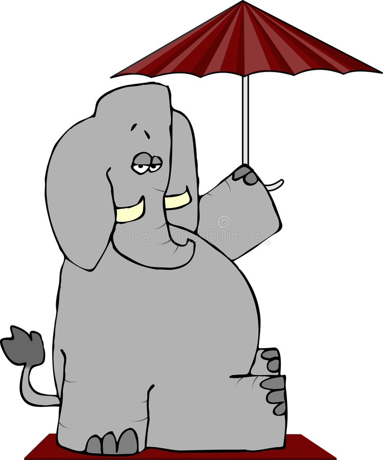 Download Elephant Under An Umbrella stock illustration. Image of illustration - 2668294