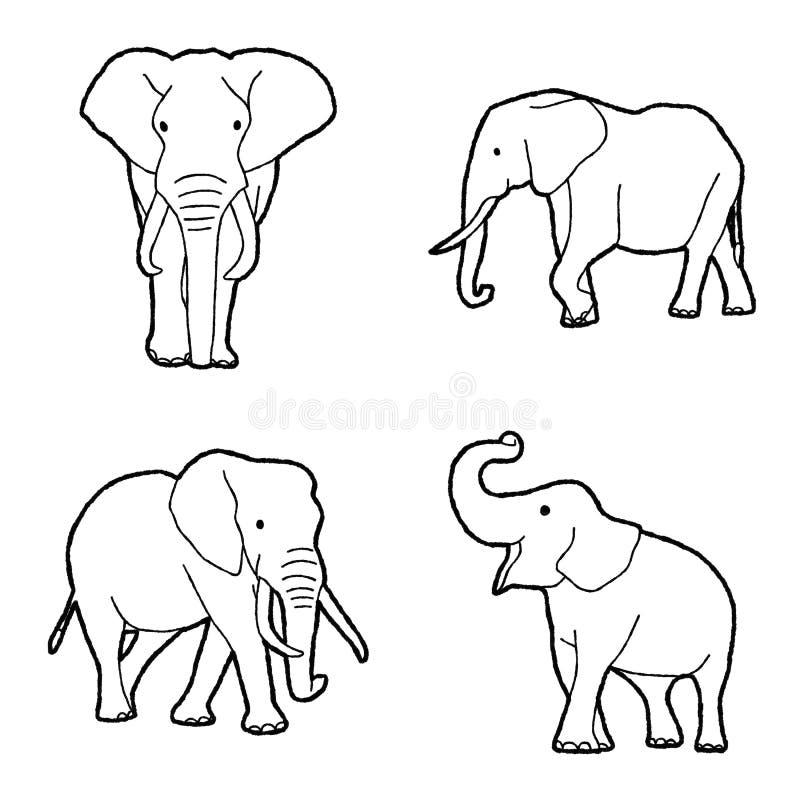 Elephant Vector Illustration Hand Drawn Animal Cartoon Art stock illustration