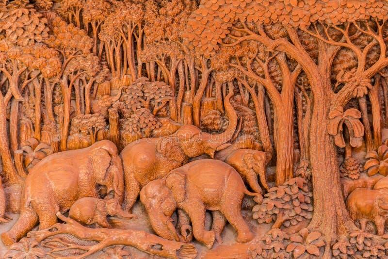 Elephant wood carve stock image