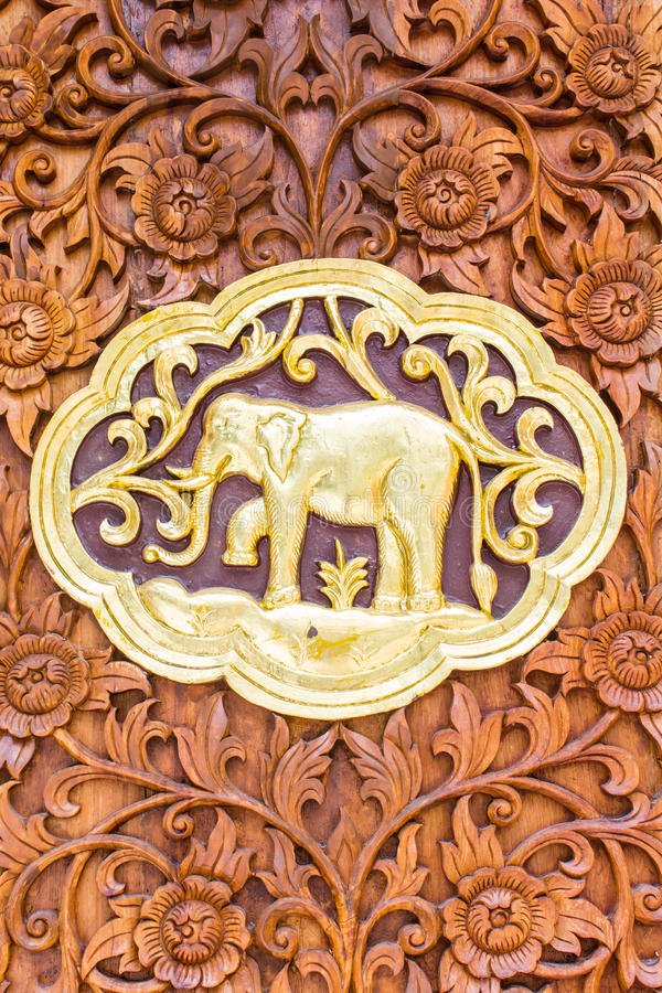 Elephant Wood Carving Wall Sculptures In Thai Temple Stock Photo ...