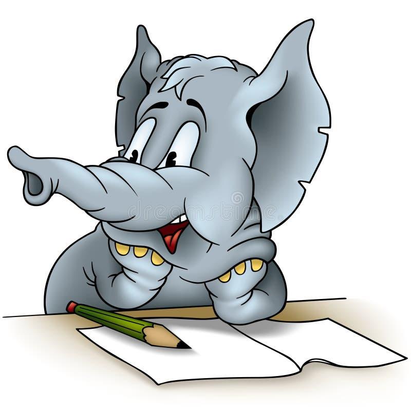 Elephant writing vector illustration