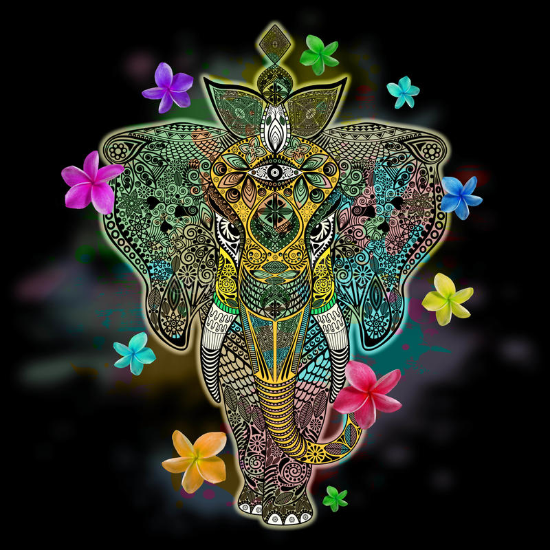 Download Elephant Zentangle Doodle Art Stock Image - Image of symmetric, india: 71859719