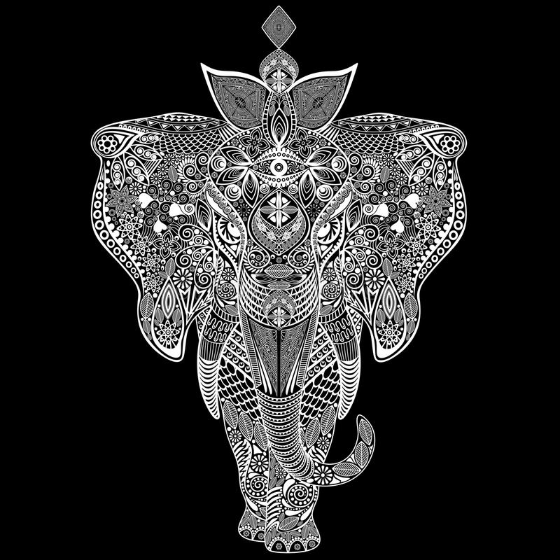 Download Elephant Zentangle Doodle Black And White Stock Vector - Illustration: 73308448