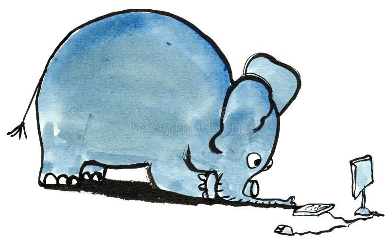 Elephant4 con PC foto de archivo