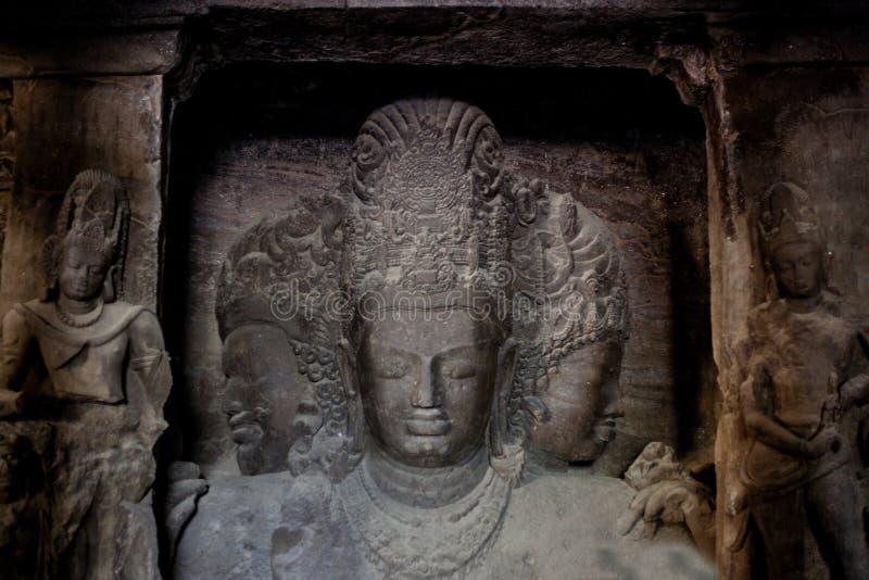 Elephanta ögrottor UNESCO india mumbai royaltyfria bilder