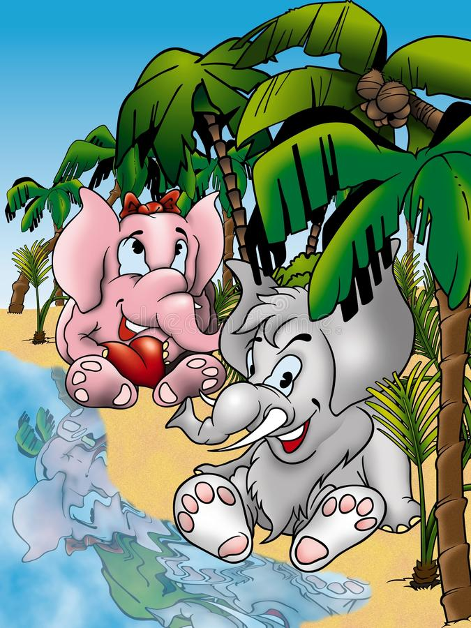 Elephants. Cartoon Background Illustration, Bitmap stock illustration