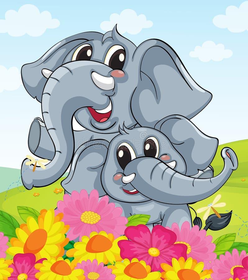 Elephants. Illustration of cartoon elephants together royalty free illustration
