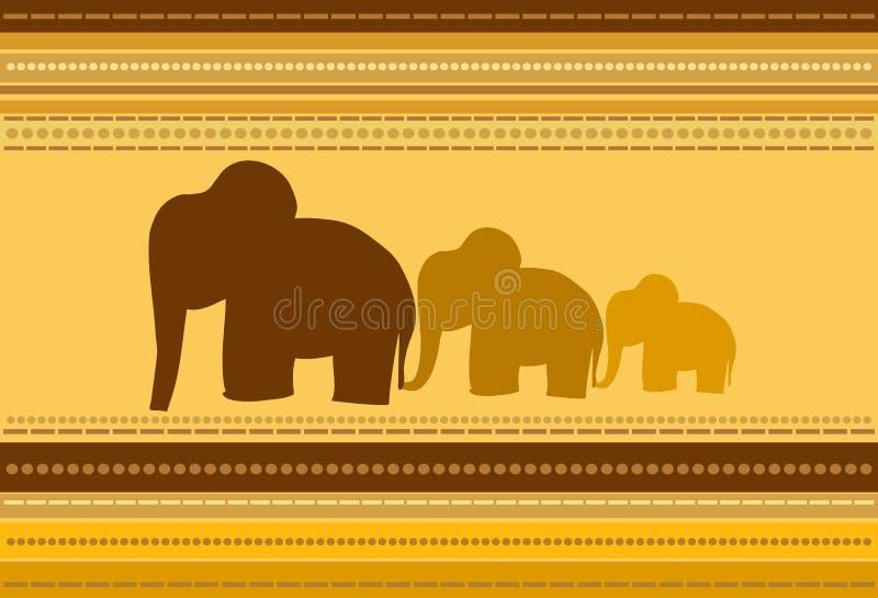 Elephants. Striped Background with Elephants Ornament stock illustration