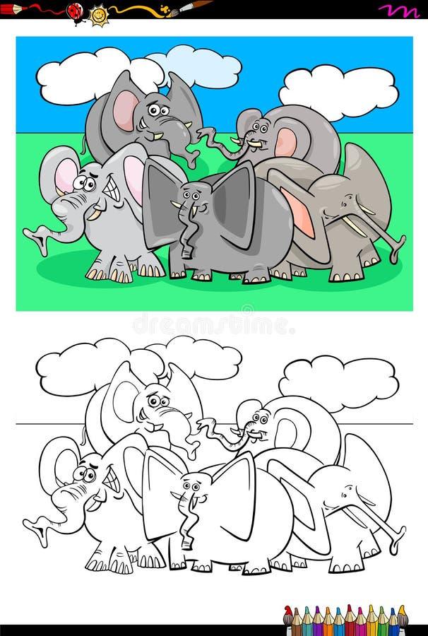 Elephants animal characters group color book. Cartoon Illustration of Funny Elephants Animal Characters Coloring Book Activity vector illustration