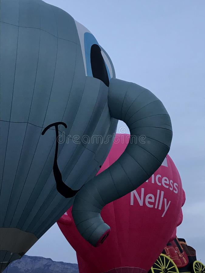 Elephants can fly!  During Special Shapes rodeo at Albuquerque International Balloon Fiesta. stock images