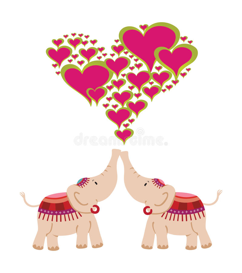 Download Elephants celebrating love stock vector. Image of animal - 16791647