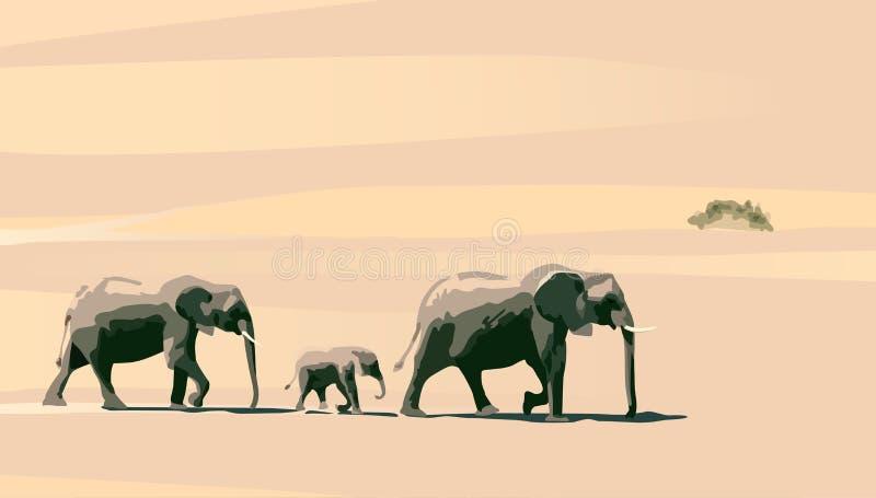 Elephants. Family of elephants on a background of yellow sand stock illustration