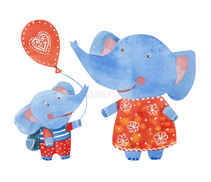Elephants family royalty free illustration