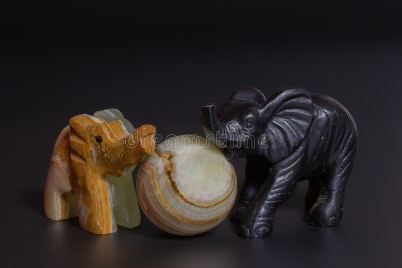 elephants figurines stock photo
