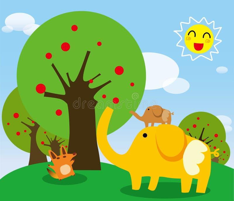Elephants and fox. Es on the Prairie vector illustration