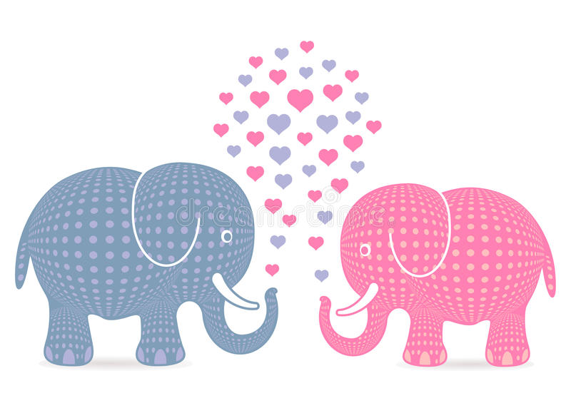 Elephants in love. Cartoon illustration of pink and blue elephants blowing love hearts from trunks; isolated on white background stock illustration