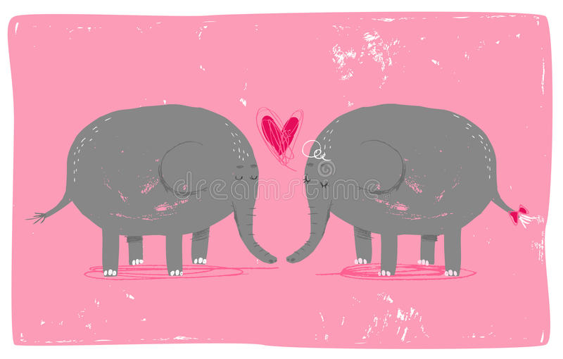 Elephants in love. Cute picture of elephants in love. AI8 compatibile vector file, hires JPG included. Picture based on hand-painted illustration royalty free illustration