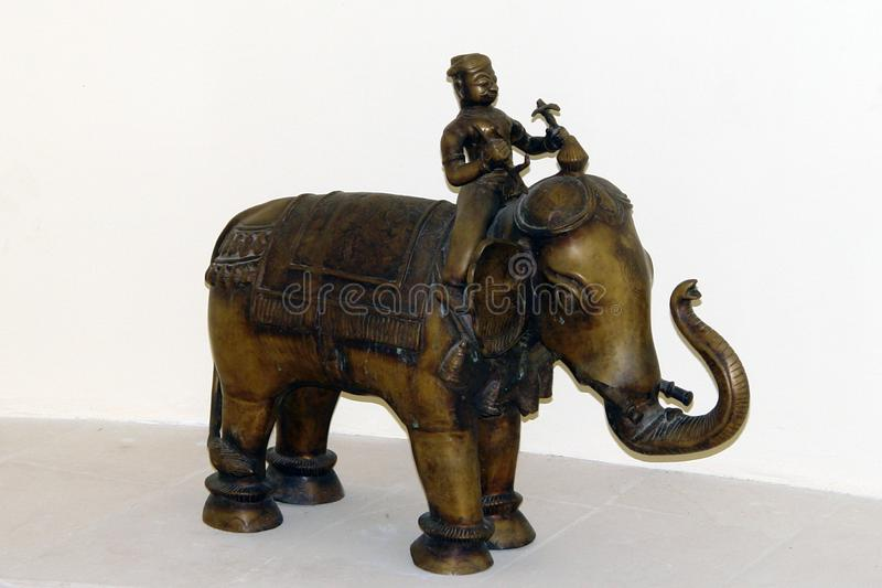 Elephants And Mammoths, Indian Elephant, Metal, Sculpture royalty free stock photo