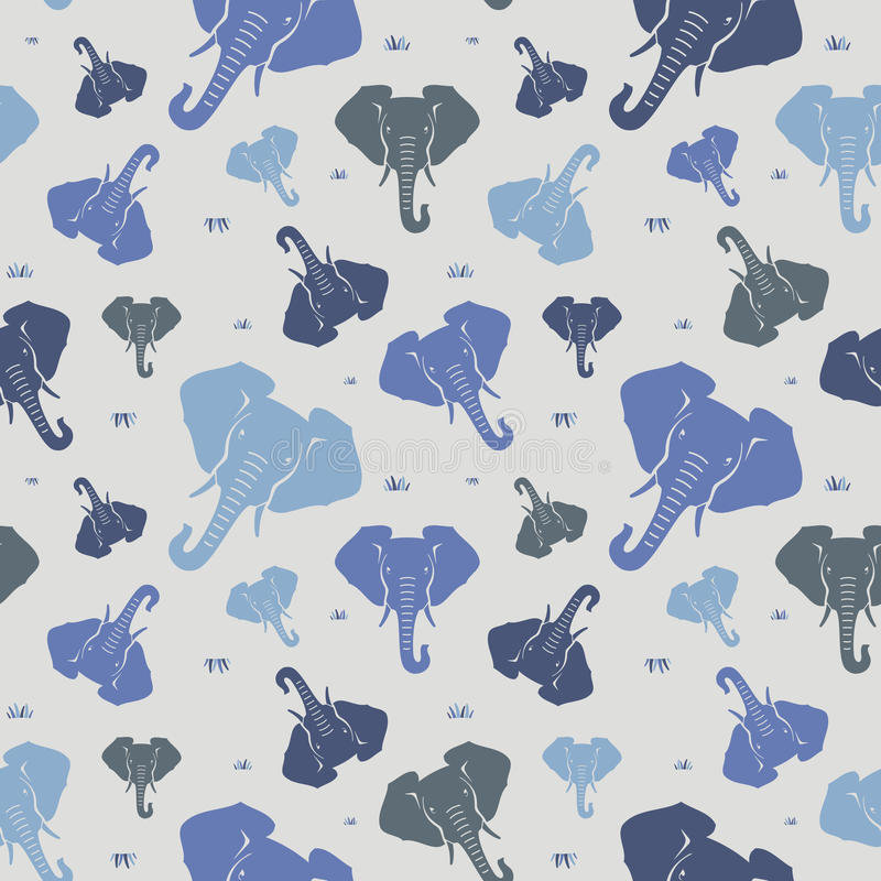 Elephants. Seamless pattern. Blue. royalty free stock images