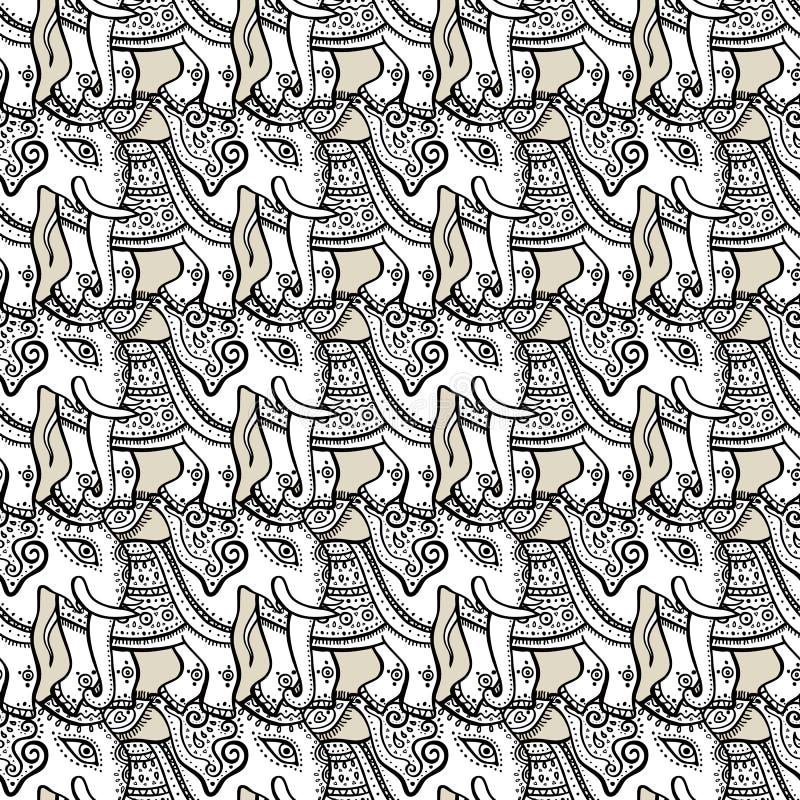 Elephants. Seamless pattern vector illustration