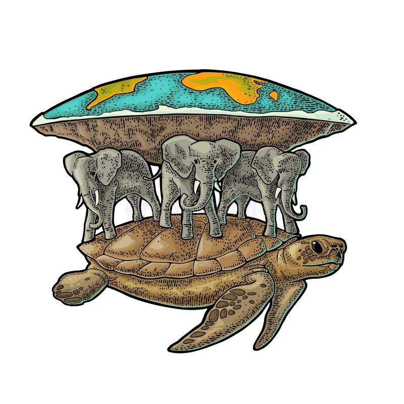 Elephants and turtle holding flat earth. Engraving vintage black illustration. Elephants and turtle holding flat earth. Engraving vintage color vector vector illustration