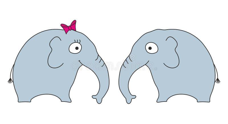 Elephants. Two cartoon elephants, female and male vector illustration