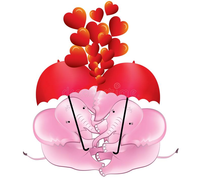Romantic baby elephants under the red umbrellas. With red hearts royalty free illustration