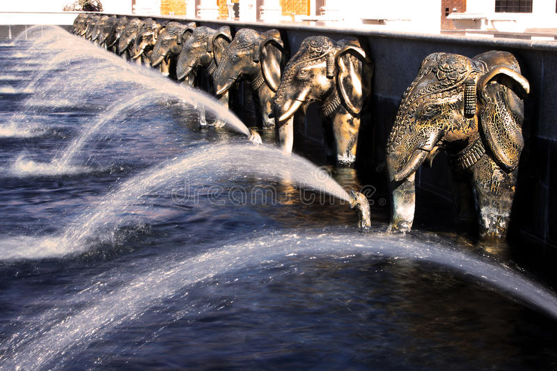 Elephants water fountain at Hindu temple royalty free stock photography