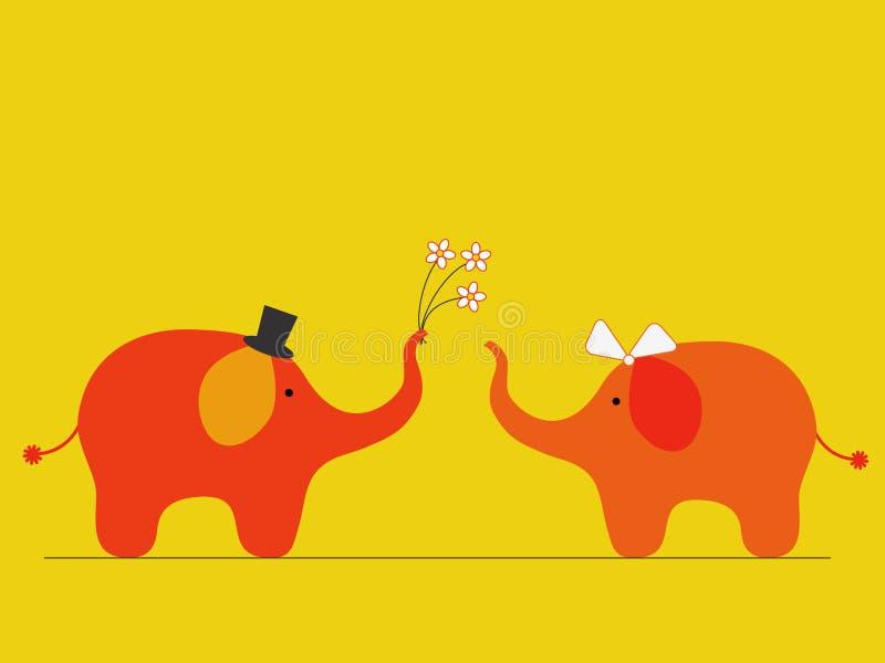 Elephants' wedding. Two cute elephants in love stock illustration