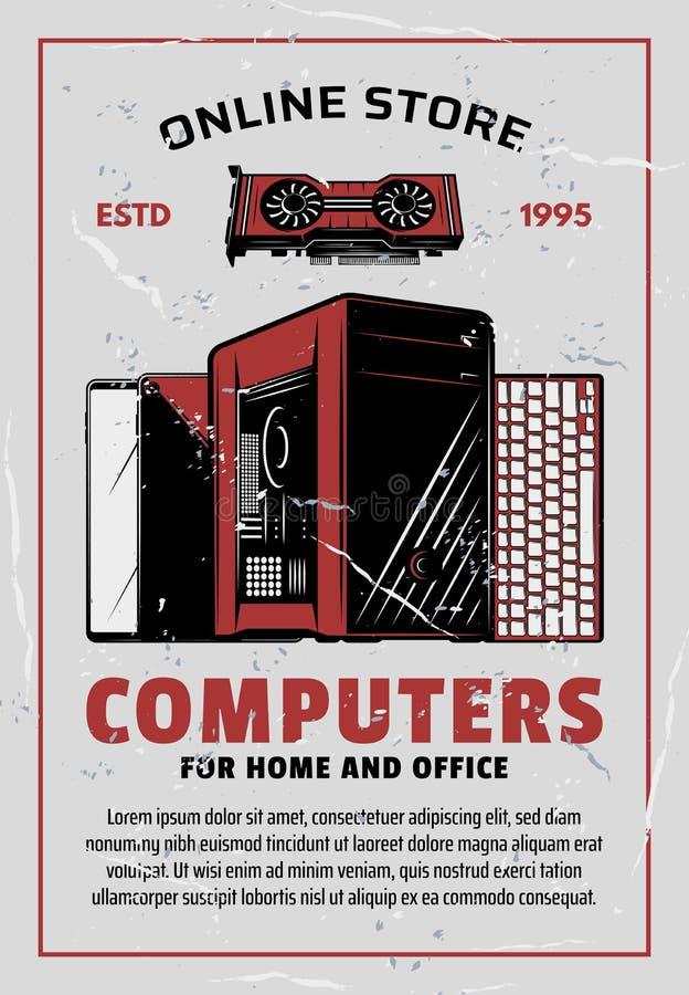 A eletrônica e os computadores em linha armazenam ilustração royalty free