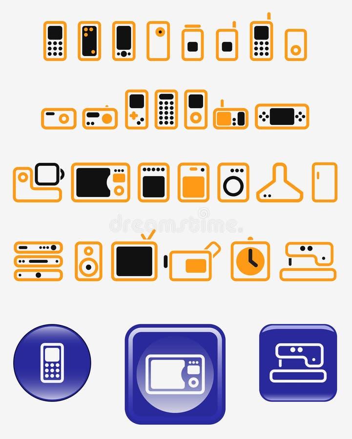 Eletrônica Home - jogo de ícones do vetor (teclas) ilustração stock