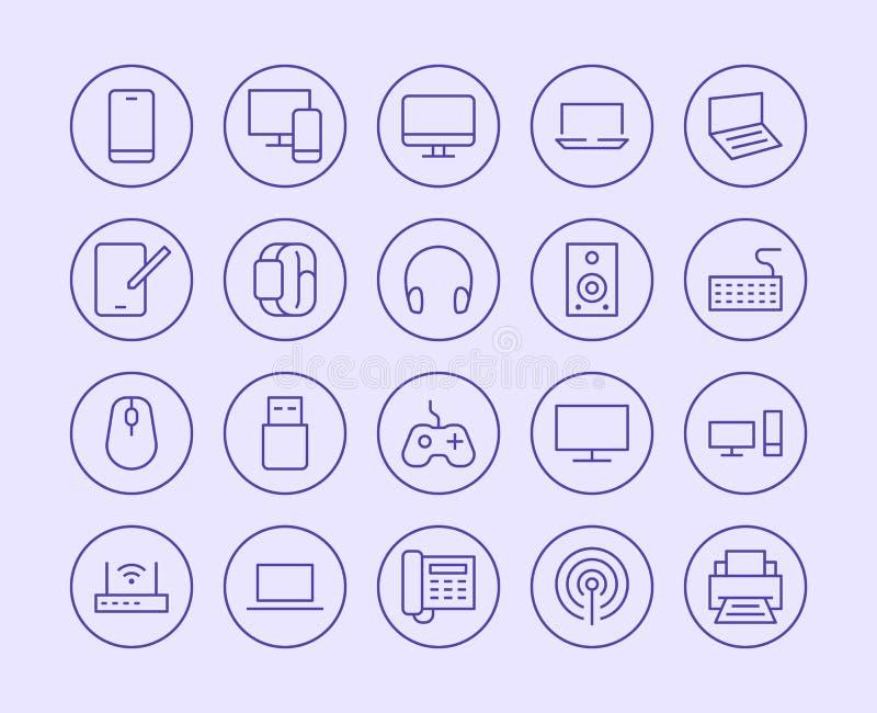 Eletrônica, linha ícone da loja da tecnologia Estilo liso da ilustração do vetor Ícones incluídos como a tevê, computador, telefo ilustração royalty free