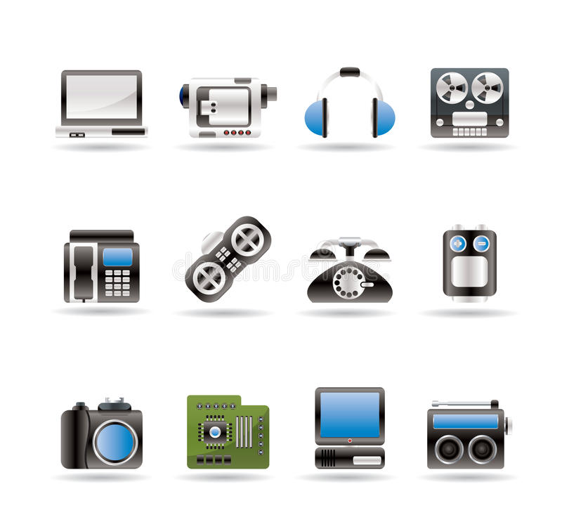 Eletrônica, media e ícones técnicos do equipamento ilustração royalty free