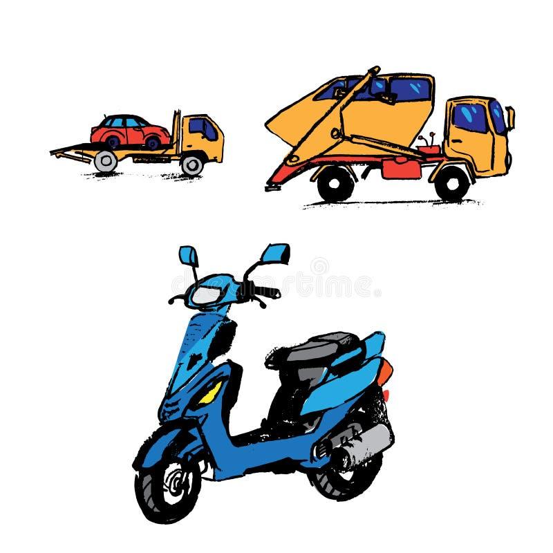 Eletrônica do automóvel, gráfico, ícone, vetor ilustração stock