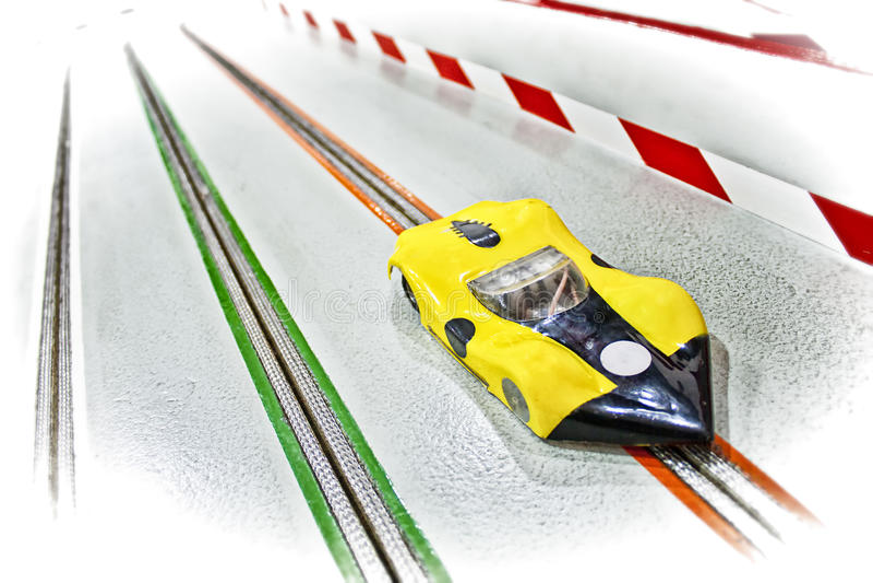 Eletric slot car memories. Eletric slot car on a racetrack - Car modeling memories stock photo