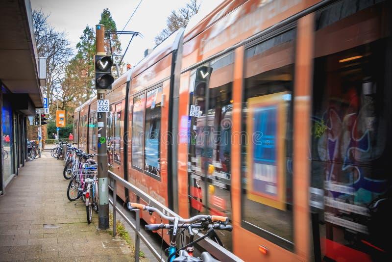 Eletric tram circulating in the city center of Freiburg im Breisgau. Freiburg im Breisgau, Germany - December 31, 2017: Eletric tram circulating in the city stock photo