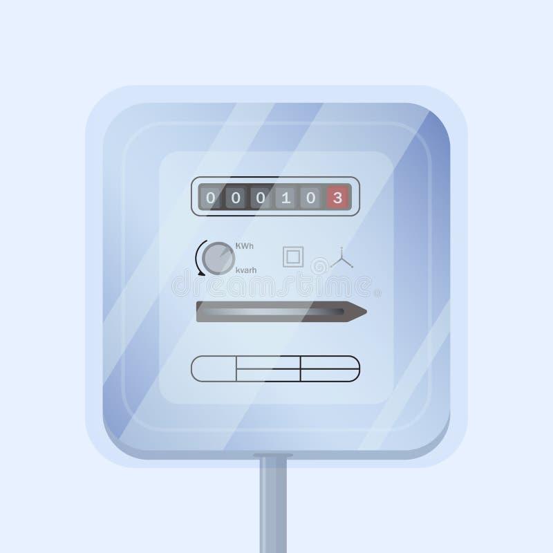 Eletricidade análoga doméstica simples ou medidor bonde isolada no fundo claro Medição do dispositivo consumida ilustração do vetor