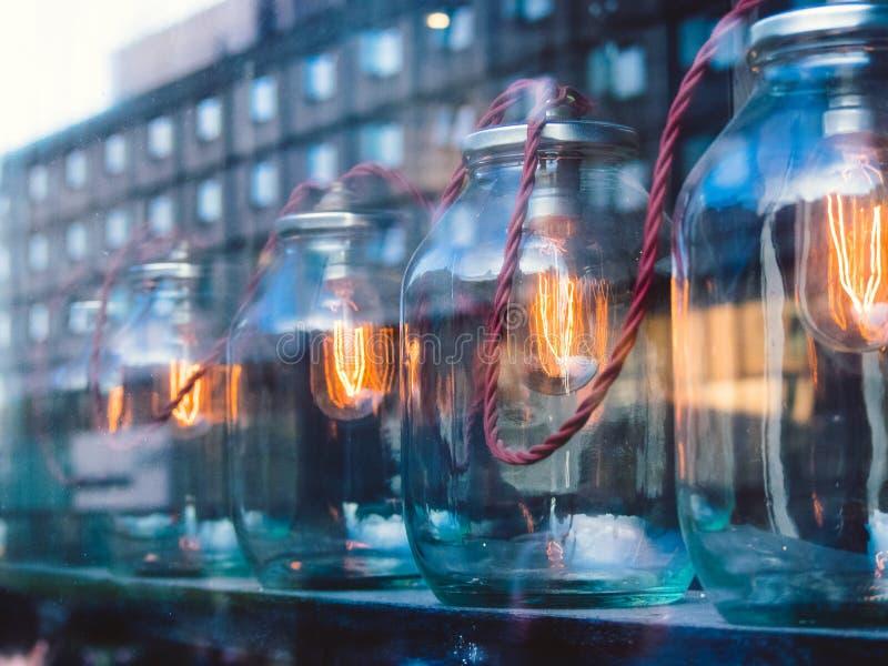 Eletricidade em uma lanterna Relections imagens de stock royalty free