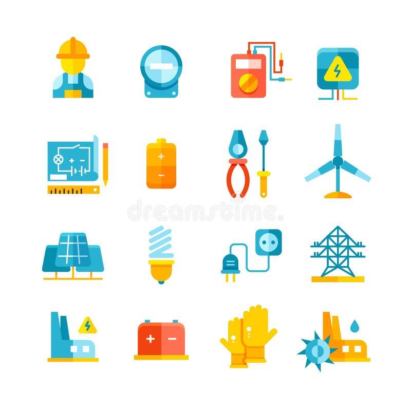 Eletricidade, medidor bonde, ícones lisos do vetor do equipamento bonde ilustração royalty free