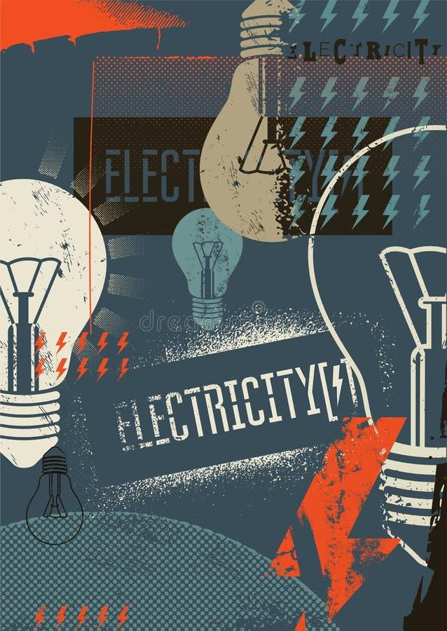 eletricidade Poster retro do grunge Ilustração do vetor ilustração stock