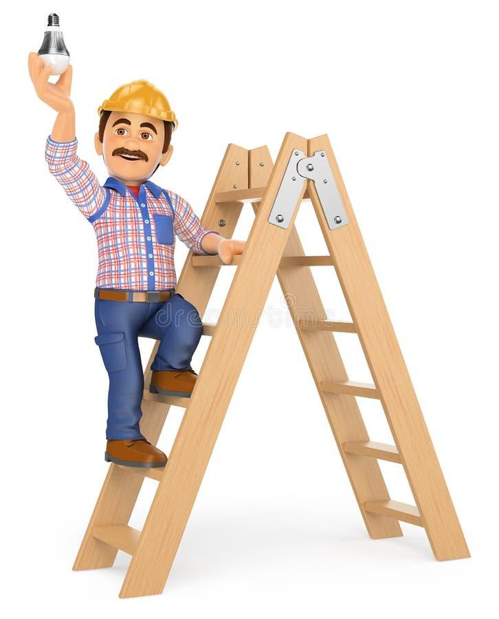 eletricista 3D em uma escada que muda uma ampola ilustração royalty free