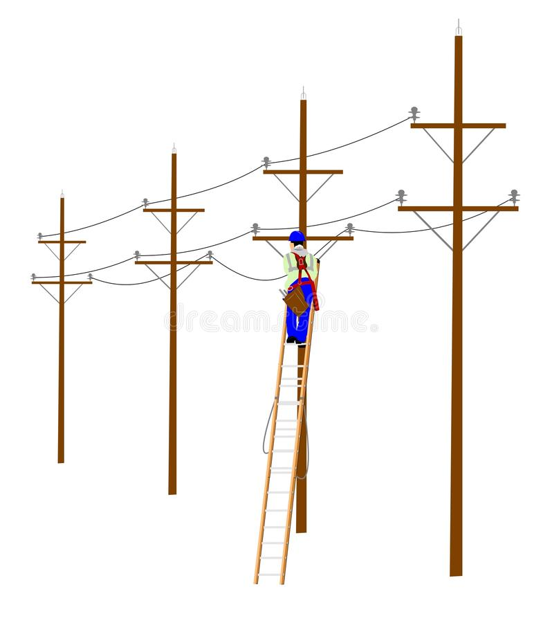 Eletricista na escada de extensão fotografia de stock