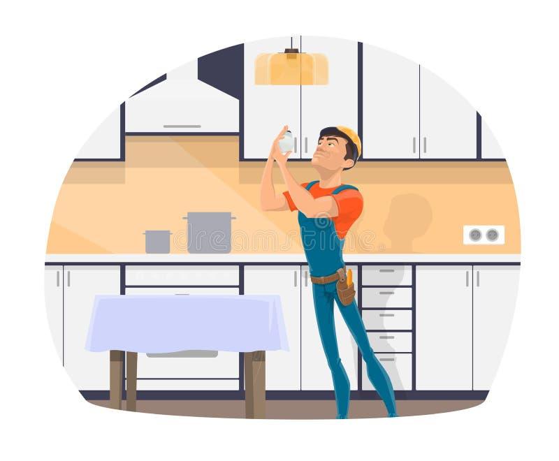 Eletricista profissional que muda o ícone da ampola ilustração stock