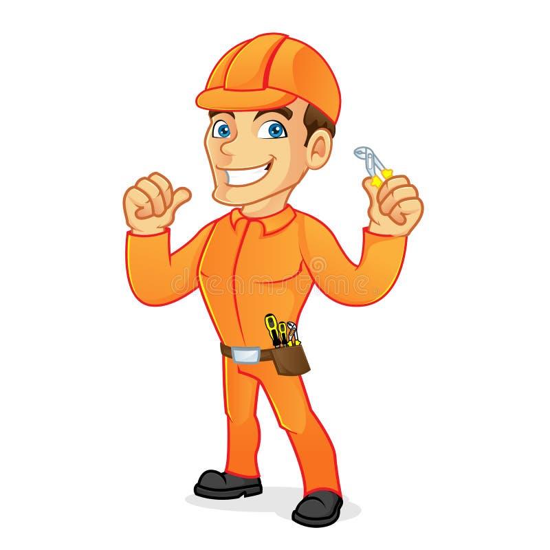 Eletricista que guarda alicates e que dá o polegar acima ilustração stock