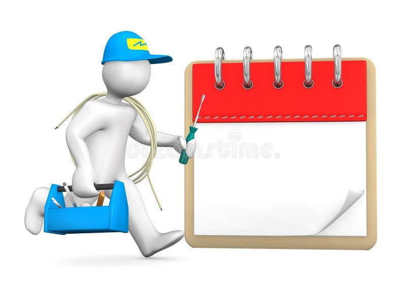 Eletricista running Notepad ilustração royalty free